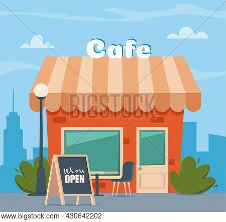 Street Cafe Facade With Chalkboard And Inscription We Are Open. Summer Outdoor Cafe With Table And S