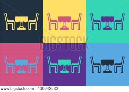 Pop Art French Cafe Icon Isolated On Color Background. Street Cafe. Table And Chairs. Vector