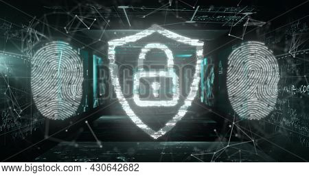Image of digital interface with fingerprints and padlock over network of connections on black background. Global digital network technology security concept digitally generated image.
