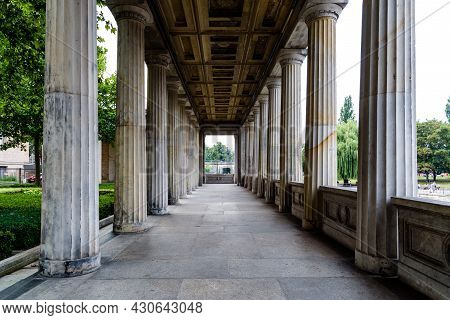 Berlin, Germany - July 30, 2019: Colonnade In Alte Nationalgalerie Museum In Berlin. Located On The