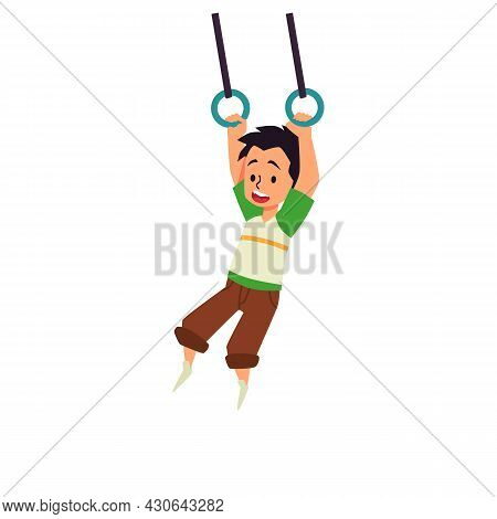 Child Swinging On Rope Ring Swings, Flat Vector Illustration Isolated On White.