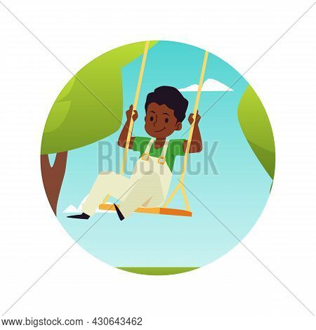 Cute Boy Having Fun On Rope Swing In Park On Amusement Attractions Or Playground