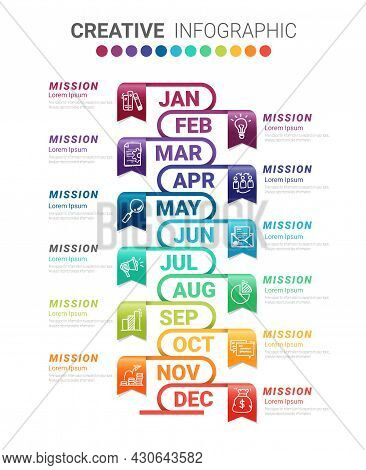 Presentation Graph, Business Infographics Template For 12 Months, 1 Year, Can Be Used For Business C