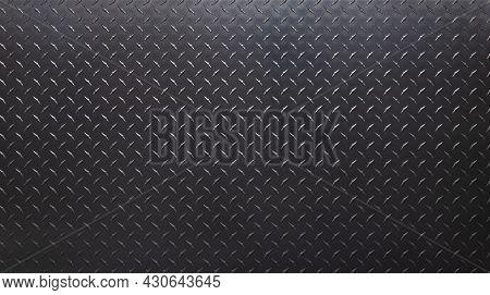 Dark Metal Plate With Diamond Print. Gray Metal Texture. Blank Metal Background