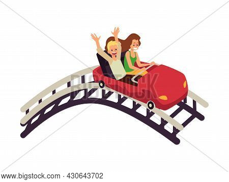 Young Couple Man And Woman Enjoying Of Rollercoaster In Amusement Park