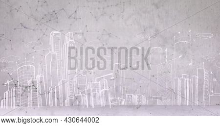 Image of connecting icons over network of connections and drawing of a city on white background. Global digital network technology concept digitally generated image.