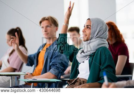 Group Of University Students Sitting In Classroom Indoors, Studying.