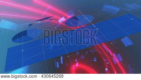 Image of digital interface with graphs and world map over digital tunnel. Global digital network technology concept digitally generated image.