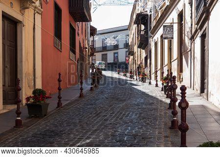La Orotava, Tenerife, Spain-01 January 2020, View On The Small Street In La Orotava Village , Teneri