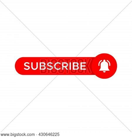 Subscribe Button Icon Vector with Bell - Icon