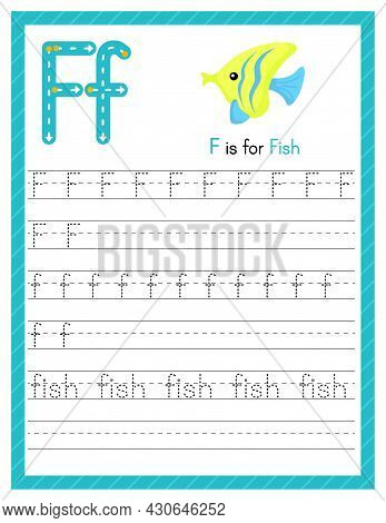 Trace Letter F Uppercase And Lowercase. Alphabet Tracing Practice Preschool Worksheet For Kids Learn