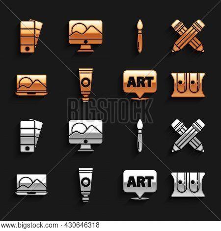 Set Tube With Paint Palette, Crossed Pencil Eraser, Pencil Sharpener, Speech Bubble Text Art, Laptop