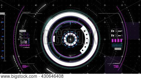Image of circular scope scanning and digital interface showing statistics on a black background. communication technology digital interface concept, digitally generated image.