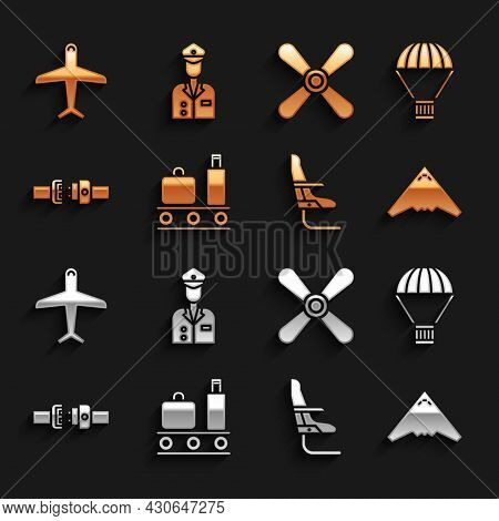 Set Airport Conveyor Belt With Suitcase, Box Flying Parachute, Jet Fighter, Airplane Seat, Safety, P