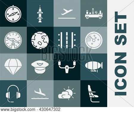 Set Airplane Seat, Airship, Radar With Targets On Monitor, Plane Takeoff, Worldwide, Compass, And Ai