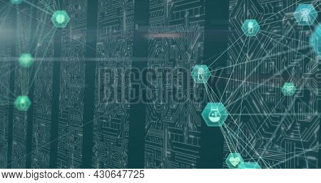 Digital image of Globe of digital medical icons over multiple microprocessor against green background. Medicine research science concept