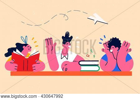 Education, Learning, Studying With Books Concept. Group Of Friends Schoolchildren And Teacher Sittin