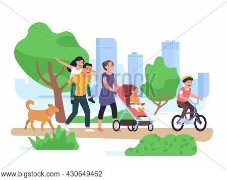 Happy Family Walking. Couple With Children Stroll Park, Son On Bicycle, Toddler In Stroller, Fun Dau