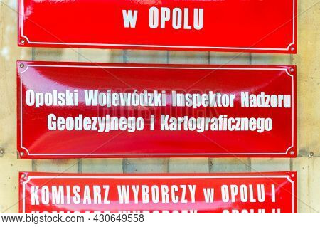 Opole, Poland - June 4, 2021: Sign Opole Voivodeship Inspector Of Geodetic And Cartographic Supervis
