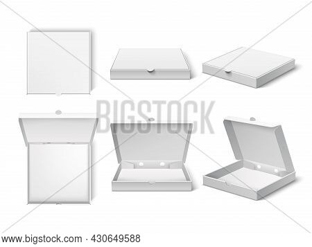 Realistic Pizza Box. Blank Packaging Mockup, Different Camera Angle, Open And Closet Variants, Fast