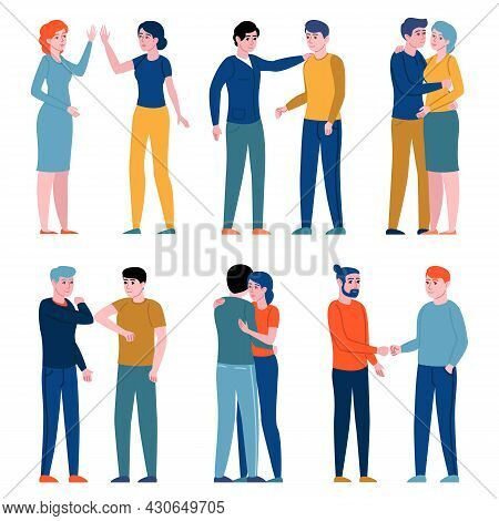 Greeting Gestures People. Women And Men Greeting Each Other Different Ways, Persons Hugging, Shake H