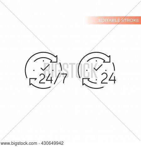 24 7 Non Stop Arrow Circle Loop Vector Icon. Twenty Four Hour Clock Service Editable Stroke Outline.