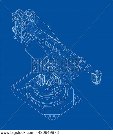 Industrial Robotic Arm. Vector Rendering Of 3d. Wire-frame Style. The Layers Of Visible And Invisibl