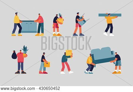 People Carry Furniture And Things Illustration Set. Male Characters Dragging Sofa And Bedside Table.