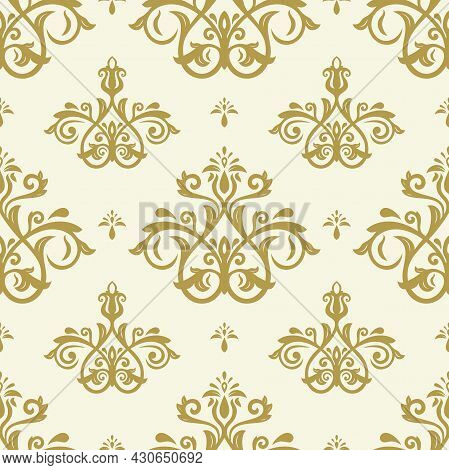 Classic Seamless Vector Pattern. Damask Orient Ornament. Classic Vintage Golden Background. Orient O