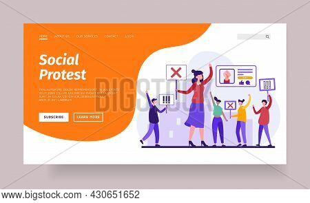 Social Online Protests. Groups Of People Rebel Against Unacceptable Rules And Conflict Innovations.
