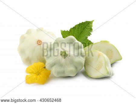 Fresh Ripe Pattypan Squashes With Leaf And Flower On White Background