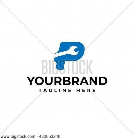 Letter P Logo With Wrench For Your Company