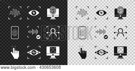 Set Voice Recognition, Eye Scan, Monitor With Fingerprint, Fingerprint, Face, Mobile And Icon. Vecto