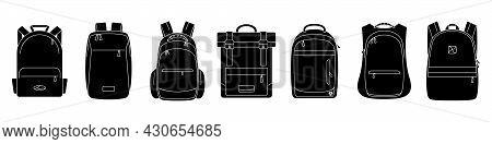 Backpack Icon. Vector Illustration. Set Of Black Backpack Icons. Isolated Backpack Icons