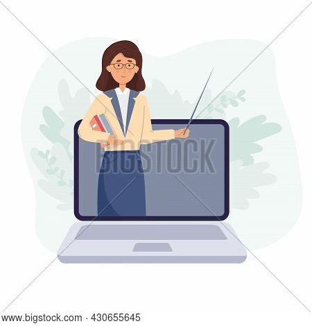 Online Education, Learning Concept. Online Teacher On Computer Monitor. Webinar, Video Seminar Learn