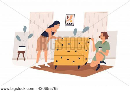 Women Decorating And Painting Furniture At Home. Family Couple Renewing And Repairing Chest Of Drawe