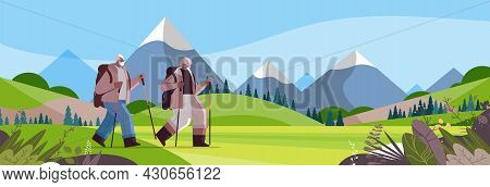 Senior African American Man Woman Hikers Traveling Together With Backpacks Active Old Age Physical A