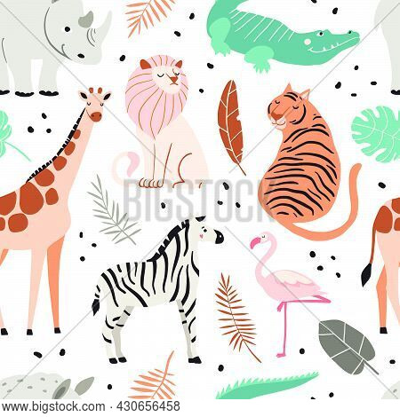 Cute Exotic Animals Seamless Pattern. Funny Crocodile, Zebra, Giraffe, Lion, Tiger, Flamingo, Hippop