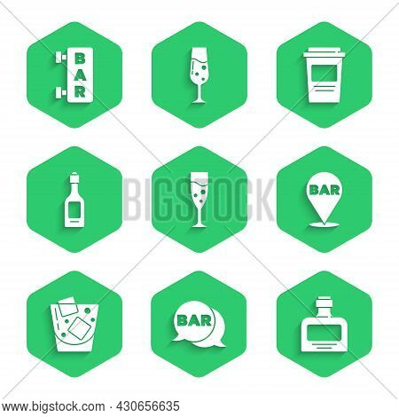 Set Glass Of Champagne, Street Signboard With Bar, Whiskey Bottle, Alcohol Bar Location, Whiskey, Ch