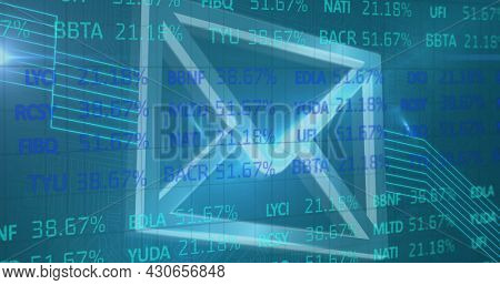 Image of data changing over digital envelope icon. digital interface global connection and science concept digitally generated image.
