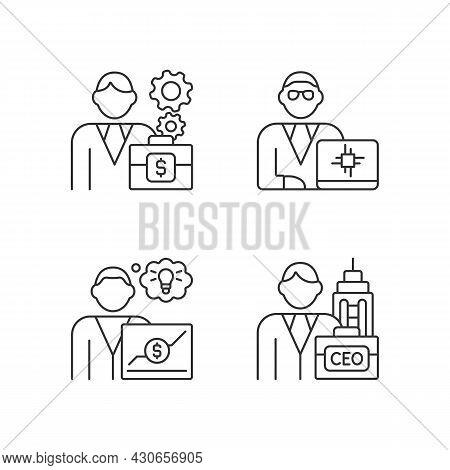 Senior Executive Roles Rgb Linear Icons Set. Chief Executive Officer. Main Company Position. Customi
