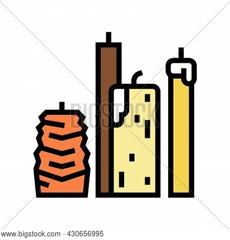 Beeswax Candles Beekeeping Color Icon Vector. Beeswax Candles Beekeeping Sign. Isolated Symbol Illus