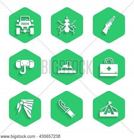 Set Hunter Hat, Knife, Tourist Tent, First Aid Kit, Bandana Or Biker Scarf, Elephant, Hunting Gun An