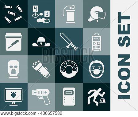Set Crime Scene, Doctor Pathologist, Dictaphone, Hand Smoke Grenade, Sheriff Hat With Badge, Evidenc