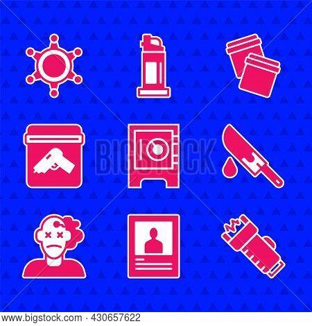 Set Safe, Wanted Poster, Police Electric Shocker, Bloody Knife, Murder, Evidence Bag With Gun, Plast