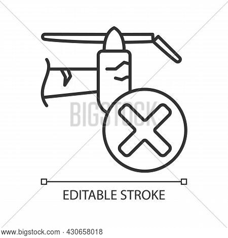 Dont Use With Cracked Details Linear Manual Label Icon. Usage Safety. Thin Line Customizable Illustr