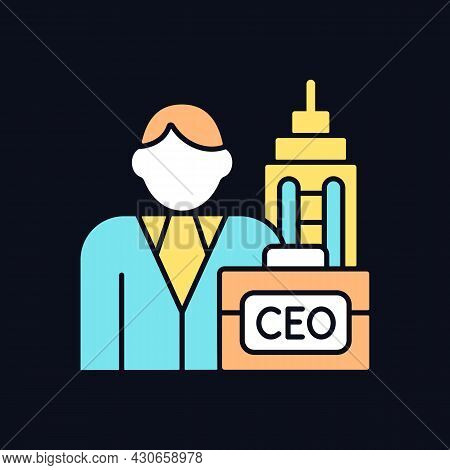 Chief Executive Rgb Color Icon For Dark Theme. Ceo Of Corporation. Chief Executive Officer, Administ