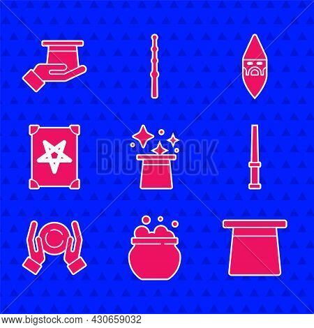 Set Magic Hat, Witch Cauldron, Wand, Ball Hand, Ancient Magic Book, Wizard Warlock And Magician In I