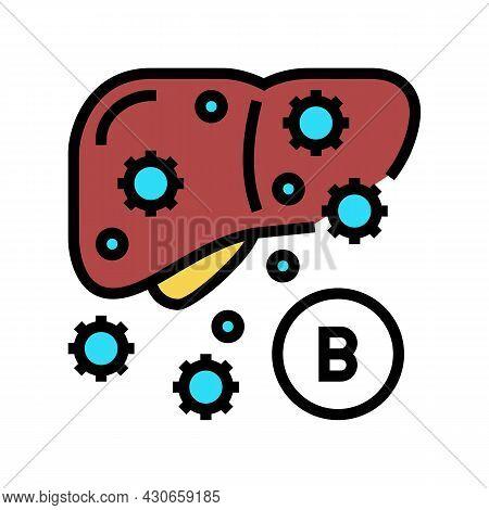 Type B Hepatitis Color Icon Vector. Type B Hepatitis Sign. Isolated Symbol Illustration
