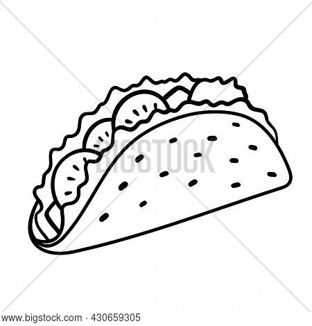 Taco With Tortilla. Mexican Lunch, Line Art Icon For Food Apps And Websites. Vector Outline Illustra